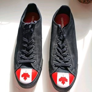 Converse s12 black low top Canada flag pattern